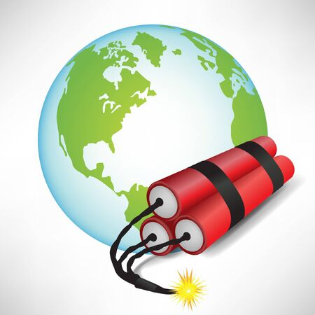 earth globe with dynamite isolated on white background Stock Vector - 10888298