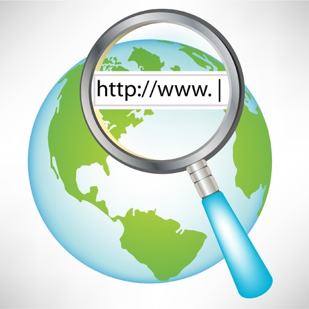 url web: earth globe with world wide web concept isolated on white Illustration