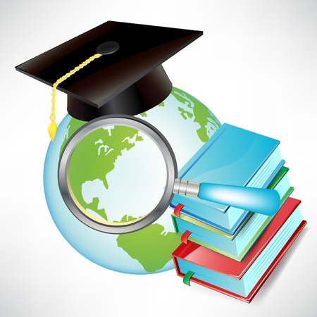 earth globe with graduation cap, books and magnifying glass isolated Vector