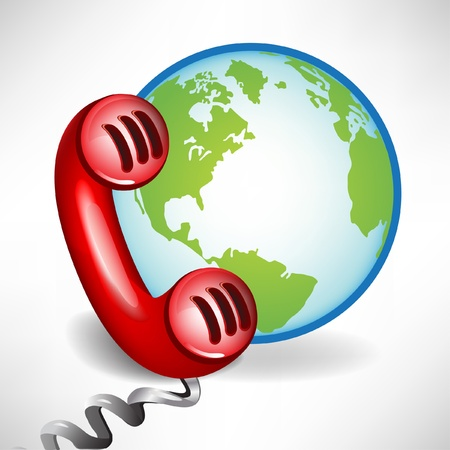 customer service phone: international customer support call center icon isolated on white Illustration