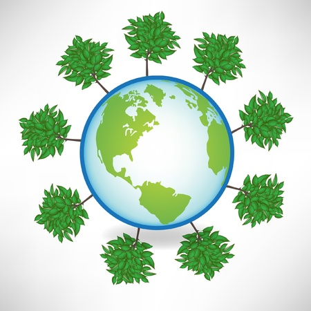 earth globe surrounded by trees isolated on white Stock Vector - 10888467