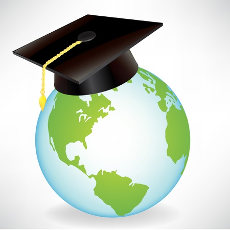 earth globe with graduation cap isolated on white Stock Vector - 10888318