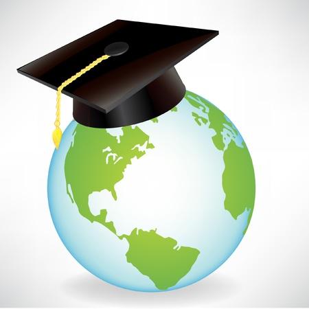 toga y birrete: globo terr�queo con casquillo de la graduaci�n aislado en blanco