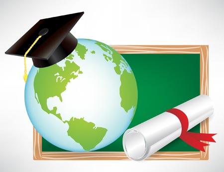 earth globe education diploma and graduation cap on black board isolated Stock Vector - 10888348