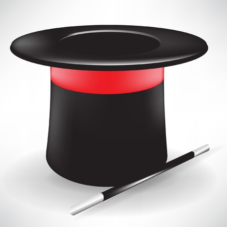 sombrero de mago: sombrero m�gico y Varita aisladas sobre fondo blanco Vectores