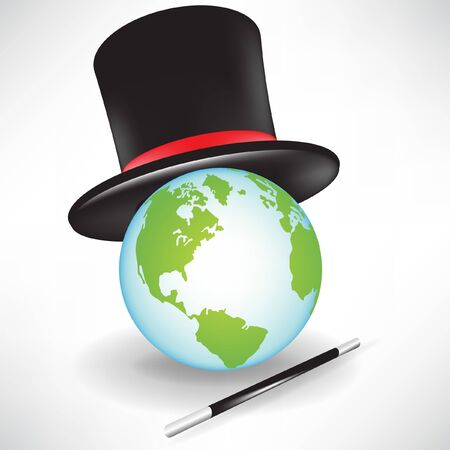 world globe with magic hat and wand isolated on white Stock Vector - 10888110