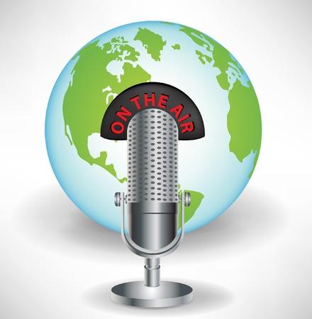 microfono de radio: micrófono con la tierra el concepto de comunicación global globo aislado