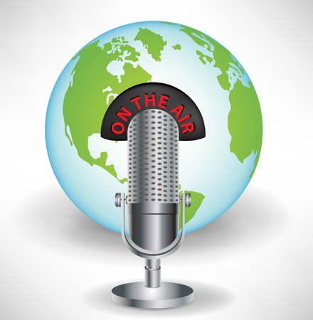 voices: microphone with earth globe global communications concept isolated Illustration