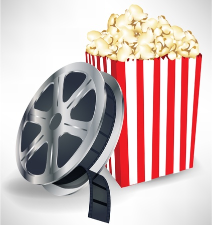 motion picture: movie film with popcorn isolated on white background