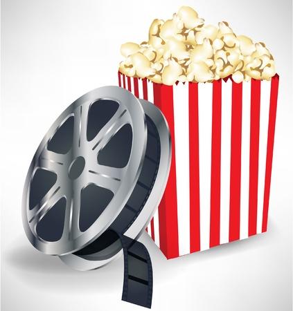 popcorn: pellicola di cinema con popcorn isolato su sfondo bianco Vettoriali