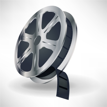 old film: dingle movie film spool with film isolated on white Illustration