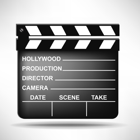 movie clapper: singola clapper regista isolato su sfondo bianco
