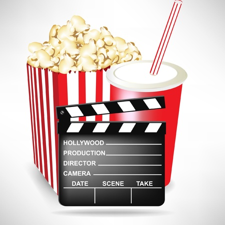 stripy: director movie clapper with popcorn and cola isolated on white Illustration