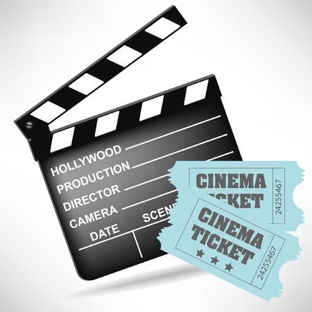 battant: clap de cin�ma et film billets isol�s sur fond blanc Illustration