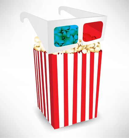 three dimensional: three dimensional movie glasses on top of popcorn bucket isolated