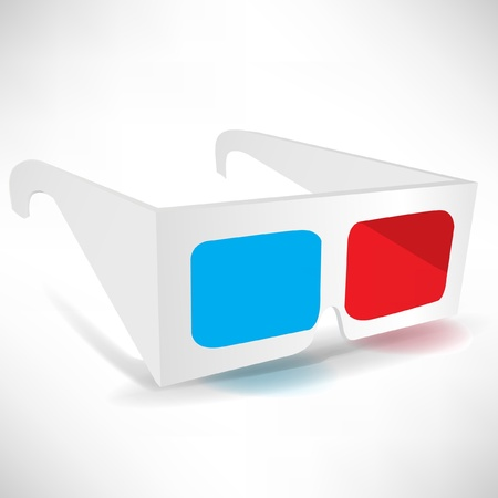 immersion: three dimensional glasses isolated on white background