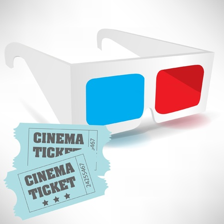 three dimensional: cinema tickets and three dimensional glasses isolated on white