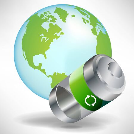 green battery with earth globe isolated on white background Stock Vector - 10888317