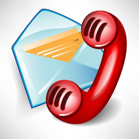 mail icon and red telephone isolated on white background Stock Vector - 10888258