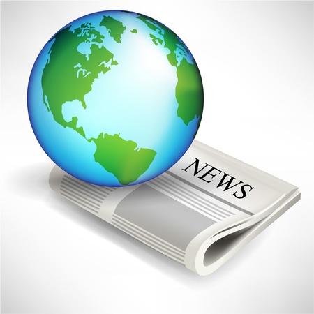 actuality: terra globe e giornale isolato su sfondo bianco