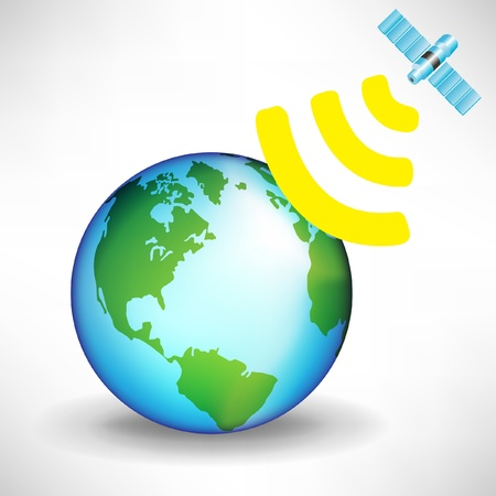 global positioning system: satellite and earth globe