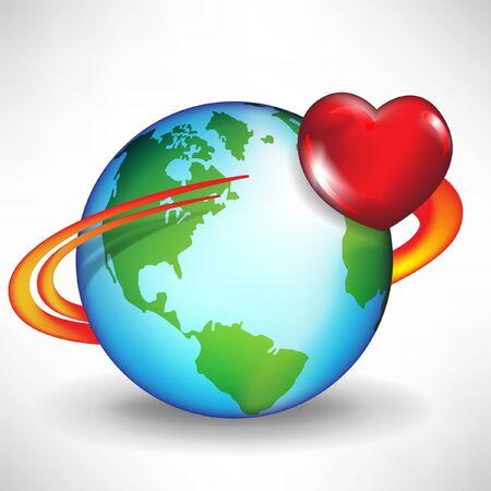 universal love: el amor hace girar el mundo alrededor de concepto con el satélite y el corazón