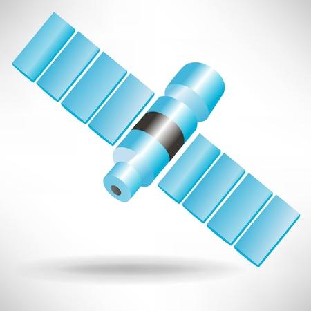 single blue satellite isolated on white background Stock Vector - 10888061
