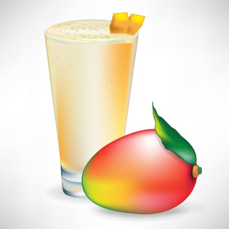 mezcla de frutas: mango licuado con fruta de mango fresco �nico aislado