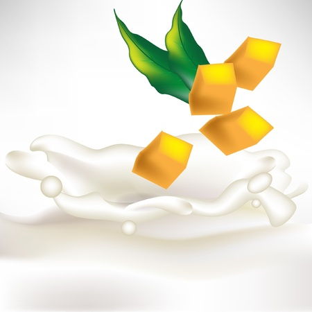 mangoes: mango slices in milk splash with fresh leaf isolated