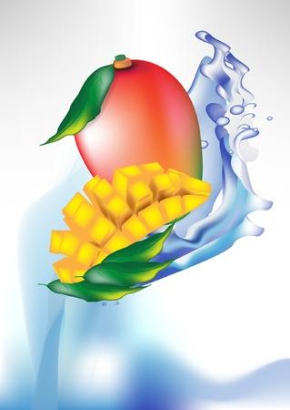 mango juice: mango fruit and slices in splash of water isolated