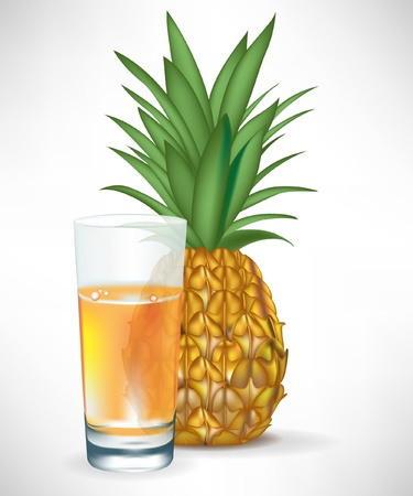 pineapple juice: fresh pineapple juice glass with fruit isolated on white background Illustration