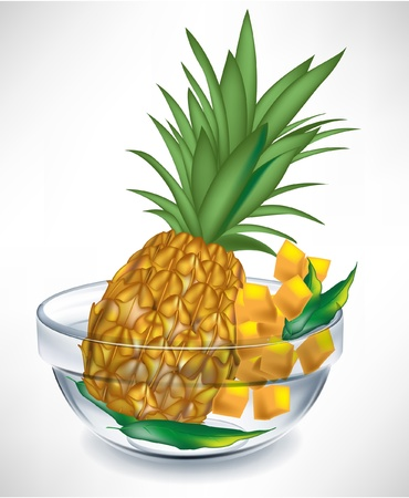 ananas fruit en plakjes in transparante kom geà ¯ soleerd op wit