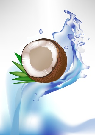 coconut water: broken coconut and leaves in splash of water isolated