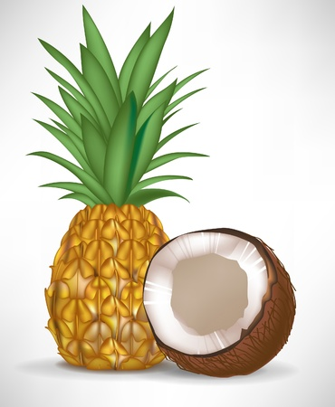 cracked coconut and pineapple isolated on white background