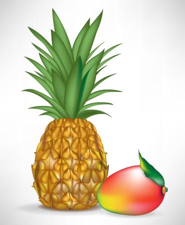 fruited: juicy mango and pineapple isolated on white background