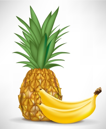 fruited: two bananas and pineapple isolated on white background