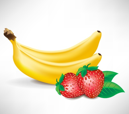fruited: fresh strawberries with leaves and two bananas isolated on white