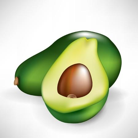고명: 아보카도 흰색 배경에 고립 된 전체 과일의 절반