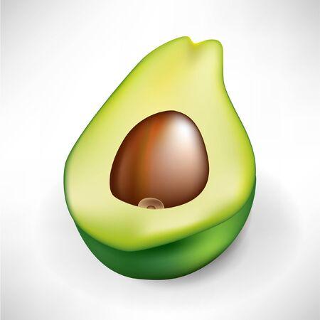 wholesome: half of fresh avocado fruit isolated on white background Illustration