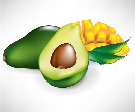 fruited: fresh sliced mango and two bananas isolated on white Illustration