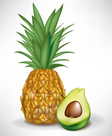 fruited: half of avocado and pineapple isolated on white background Illustration