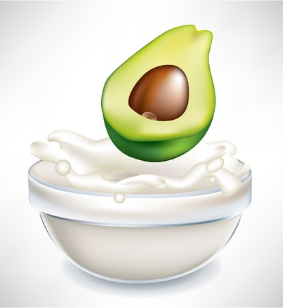 dipping: avocado and creamy milk splash in transparent bowl isolated on white Illustration