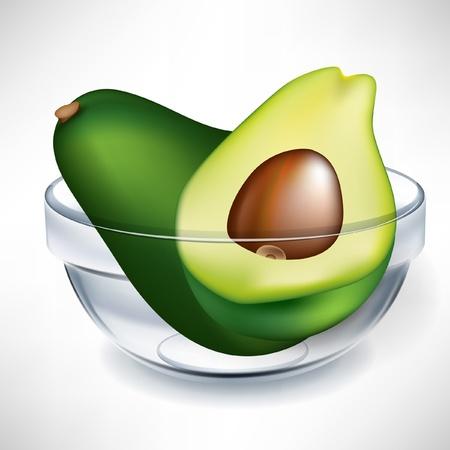 avocado fruit en slice in transparante kom geà ¯ soleerd