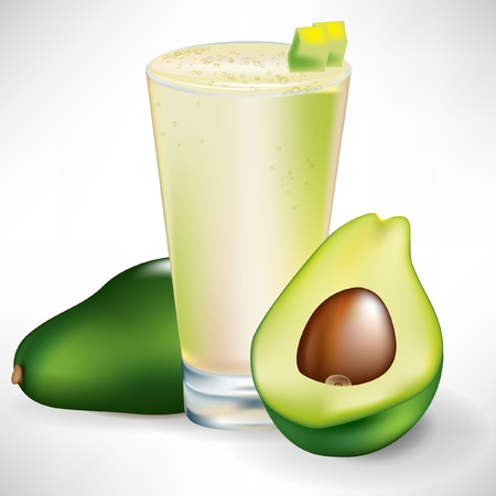 avocado beverage with fresh fruit and sliced isolated
