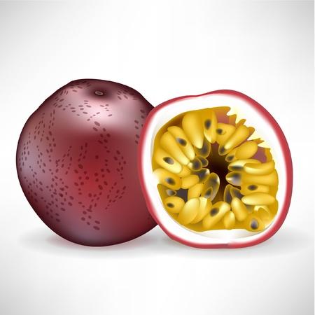 drupe: fresh whole passion fruit and sliced fruit isolated on white Illustration
