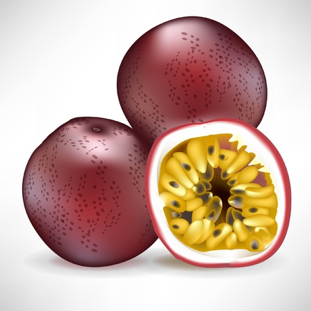 drupe: fresh pile of passion fruit and sliced fruit isolated on white