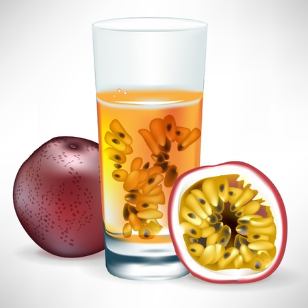 passion fruit beverage with fresh fruit and slice isolated Stock Vector - 10888398
