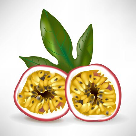 drupe: two halfs of passion fruit with leaf isolated on white Illustration
