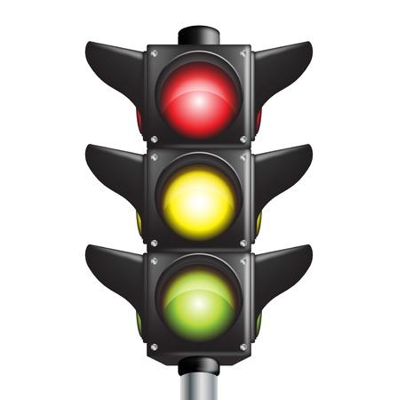 traffic control: se�al de tr�fico con luces de tres colores