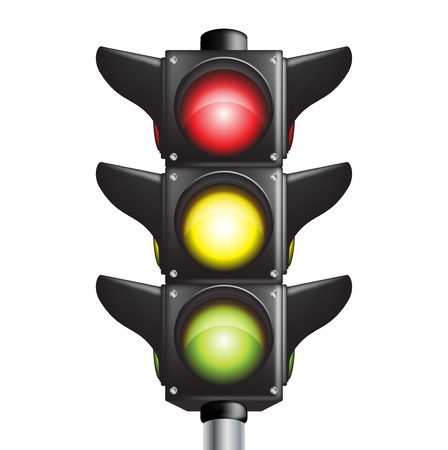 traffic sign with three colors lights Vector